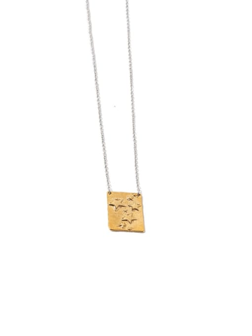 Star Square Brass  Geometric  Star Hip Hop Necklace