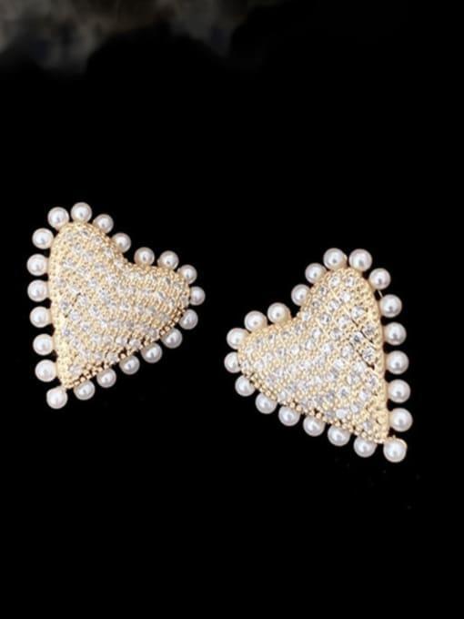 SUUTO Brass Cubic Zirconia Heart Hip Hop Stud Earring