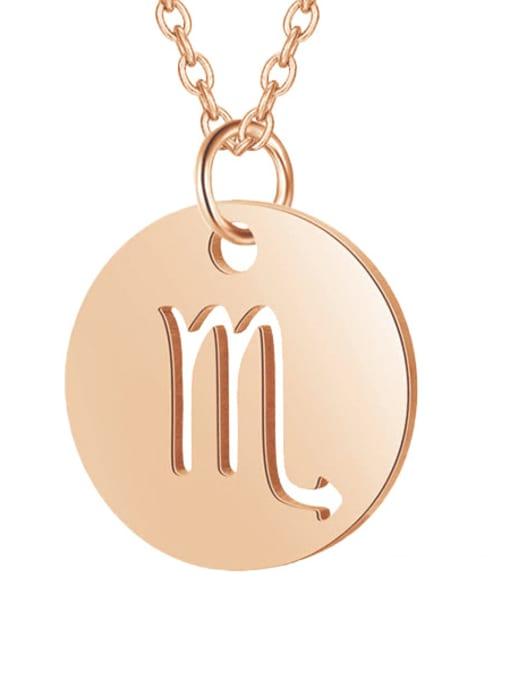 Scorpio rose gold Titanium Steel Constellation Minimalist  Round Pendant Necklace