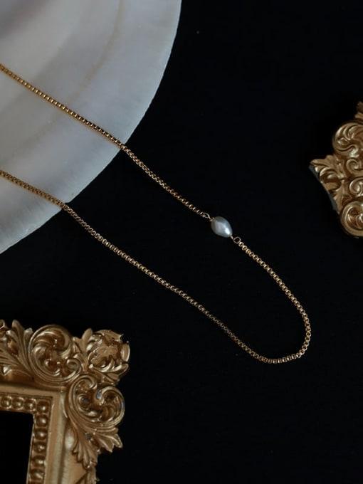 Five Color Brass Imitation Pearl Vintage   Geometric Chain  Necklace 3