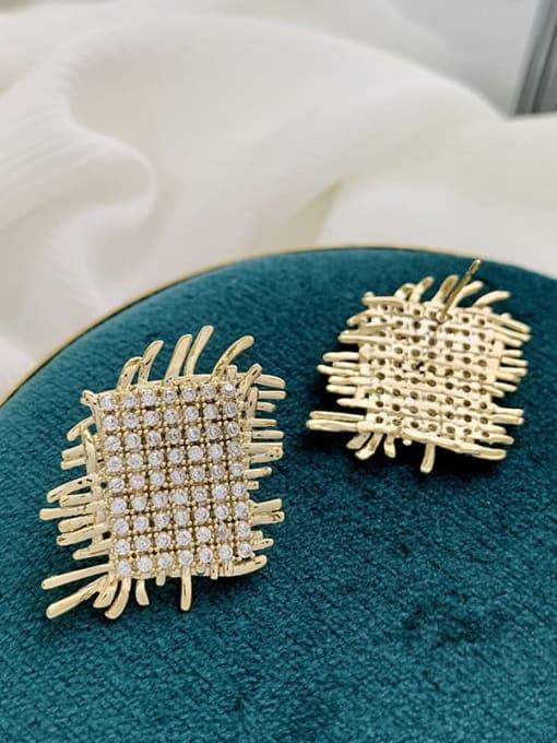 SUUTO Brass Cubic Zirconia Geometric Luxury Stud Earring 4