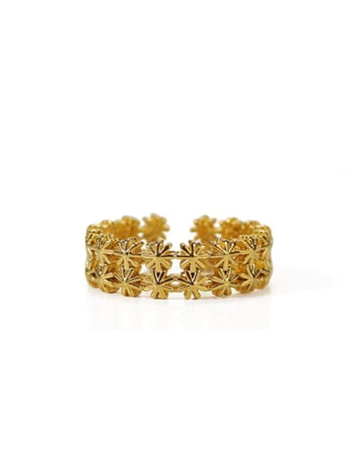 golden Brass Rhinestone Flower Vintage Band Ring