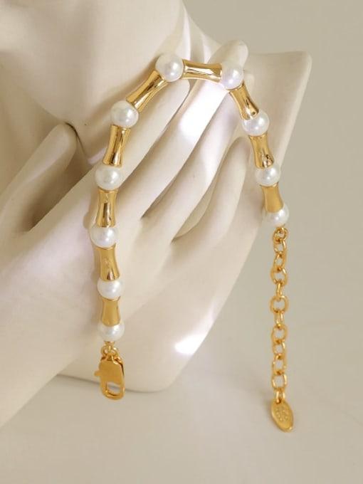 Five Color Brass Imitation Pearl Geometric Minimalist Beaded Bracelet 3