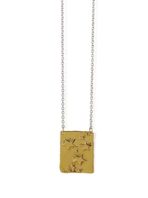 stars Brass Geometric Vintage Necklace