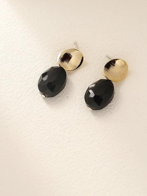 14k Gold +Black Brass Glass Stone Geometric Vintage Drop Earring
