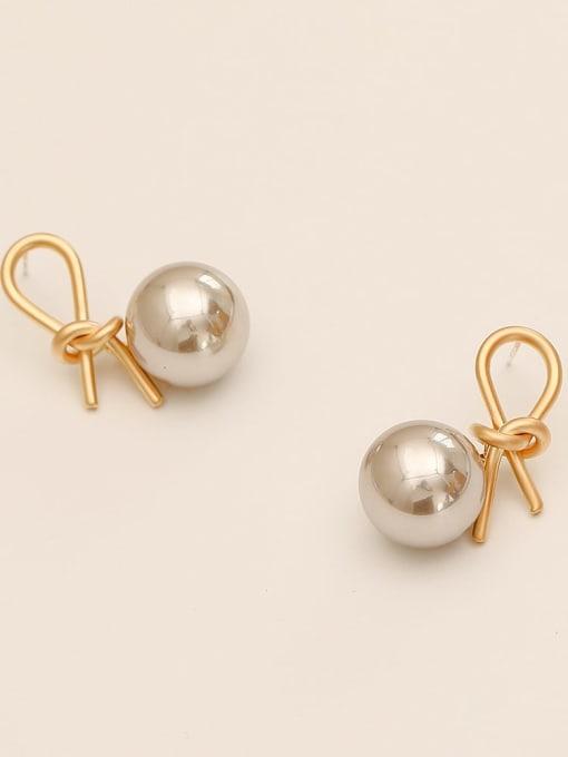 Dumb gold Brass Imitation Pearl knot Vintage Drop Earring