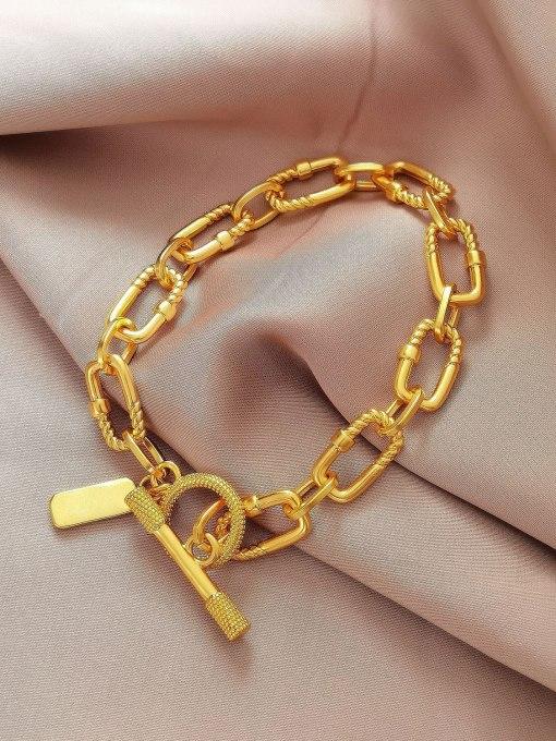 HYACINTH Brass Hollow Geometric  China Vintage Link Bracelet 0