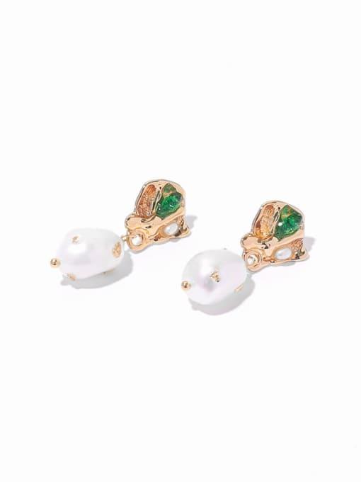 Pearl Earrings Brass Imitation Pearl Geometric Hip Hop Drop Earring