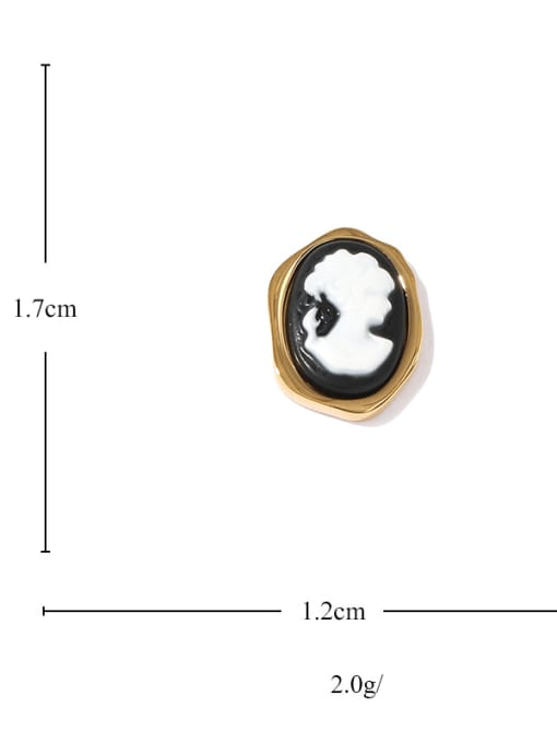 ACCA Brass Acrylic Round Vintage Stud Earring 3