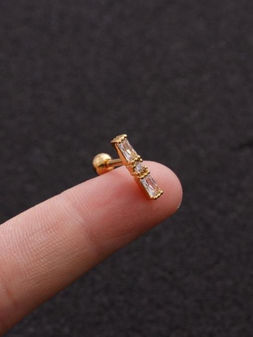 Gold 2#(Single) Brass Cubic Zirconia Geometric Minimalist Stud Earring
