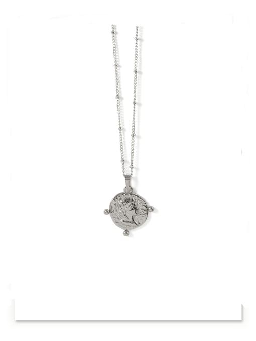 platinum Brass Geometric Vintage Vintage portrait pendant Necklace
