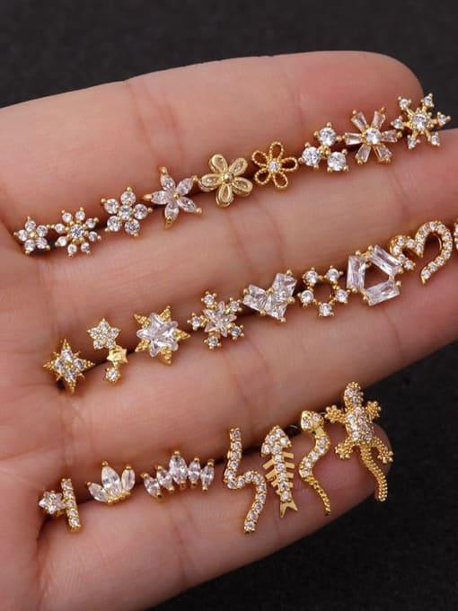 HISON Brass Cubic Zirconia Rosary Hip Hop Stud Earring 1