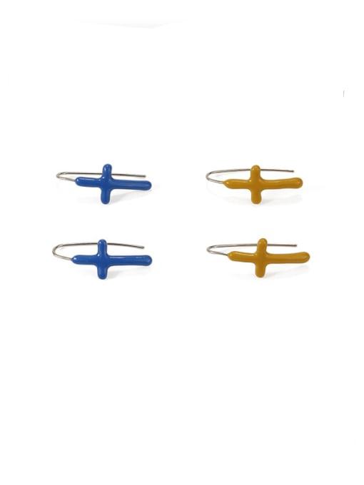 ACCA Brass Enamel Cross Vintage Hook Earring 0
