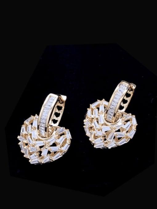 SUUTO Brass Cubic Zirconia Heart Minimalist Huggie Earring 1