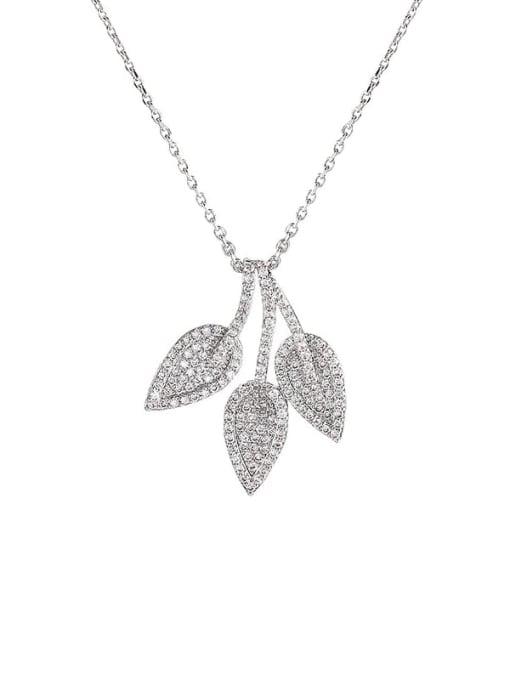 YILLIN Brass Cubic Zirconia Leaf Minimalist Necklace 0