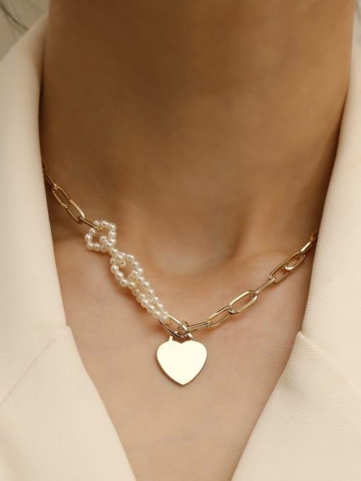 HYACINTH Brass Imitation Pearl Heart Minimalist Necklace 1
