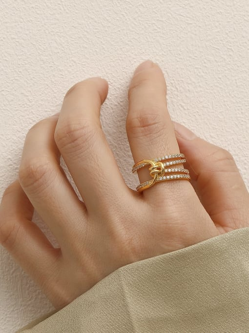 HYACINTH Brass Cubic Zirconia Geometric Vintage Stackable Ring 2