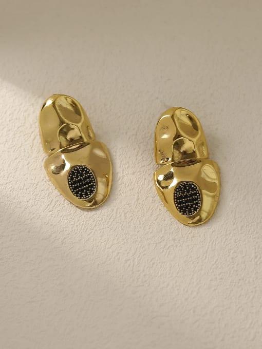 Vintage gold Brass Irregular Vintage Stud Earring