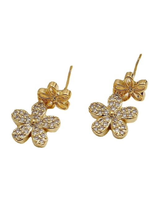 HYACINTH Brass Cubic Zirconia Flower Hip Hop Drop Earring