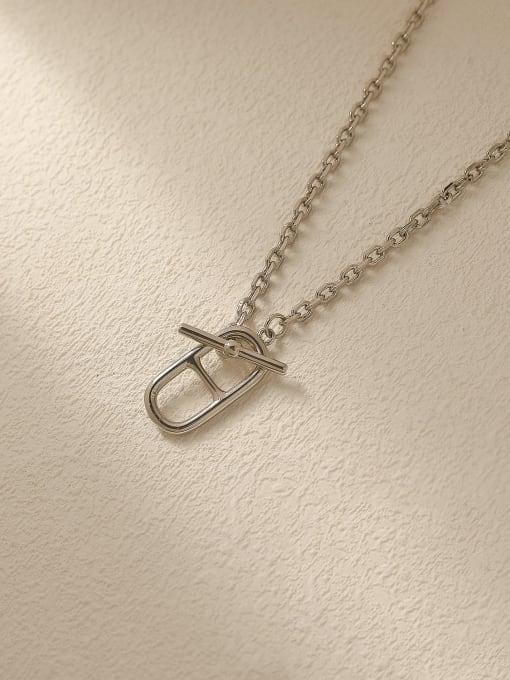 white K Brass Hollow Geometric Vintage Trend Korean Fashion Necklace