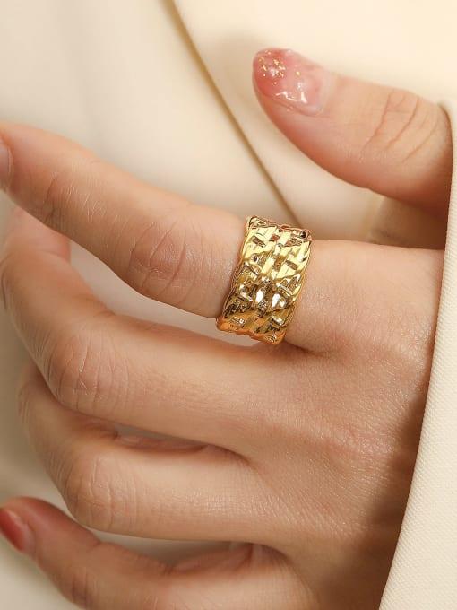 HYACINTH Brass Geometric Vintage Band Ring 0