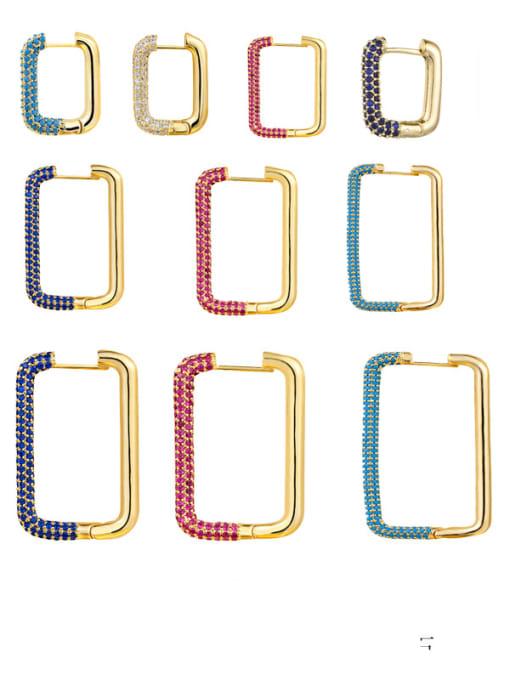 OUOU Brass Cubic Zirconia Geometric Minimalist Huggie Earring