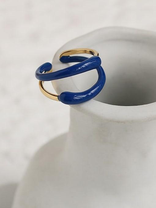 ACCA Brass Enamel Geometric Minimalist Stackable Ring 2