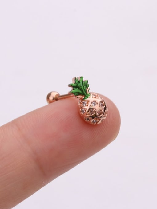 Rose Gold 3#(Single) Brass Cubic Zirconia Irregular Cute Stud Earring(Single)