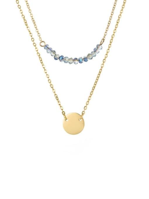 golden Stainless steel Bead Geometric Minimalist Necklace