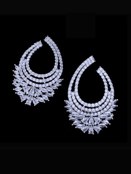 SUUTO Brass Cubic Zirconia Geometric Luxury Stud Earring