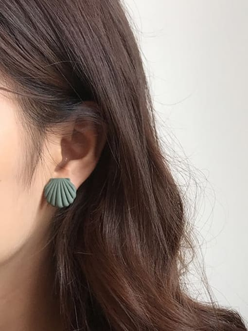 Five Color Alloy Enamel Geometric Shell Cute Stud Earring 1