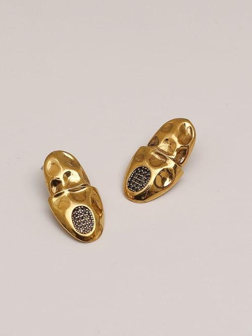 Gujin Brass Rhinestone Geometric Vintage Stud Earring