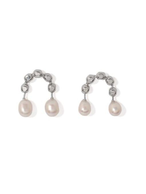 Platinum Brass Imitation Pearl Geometric Vintage Stud Earring