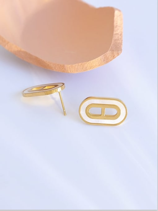 Five Color Brass Shell Geometric Vintage Stud Earring 2