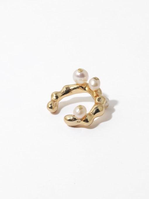 TINGS Brass Imitation Pearl Irregular Vintage Single Earring 3