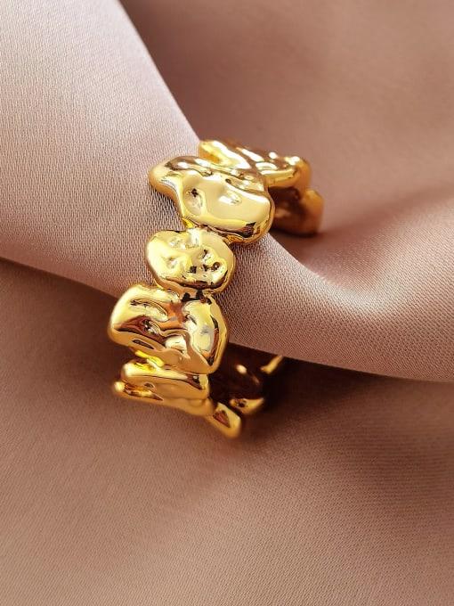 18k gold Brass Smooth Irregular Vintage Band Ring