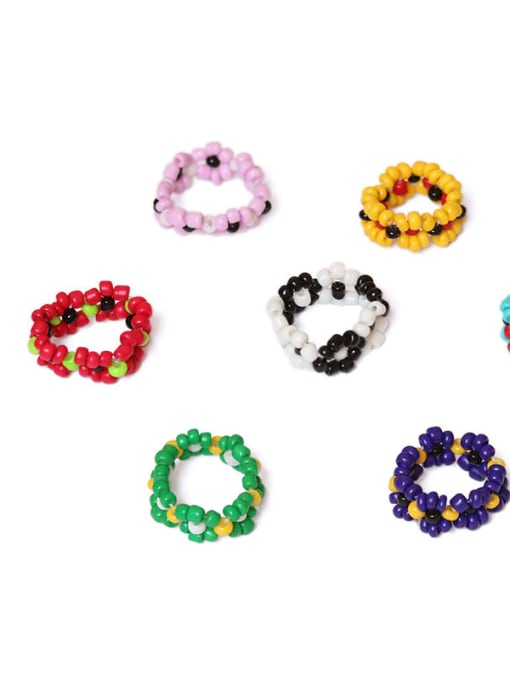 Five Color Alloy Glass bead Multi Color Round Ethnic Band Ring 1
