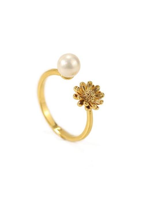 golden Brass Imitation Pearl Flower Minimalist Band Ring