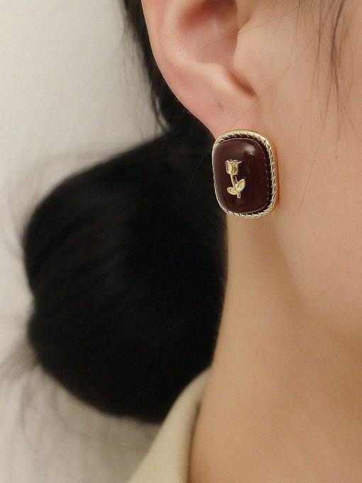 HYACINTH Brass Enamel Geometric Vintage Stud Trend Korean Fashion Earring 1