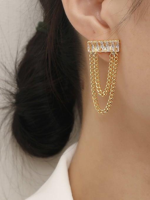 HYACINTH Brass Cubic Zirconia Tassel Vintage Threader Trend Korean Fashion Earring 1
