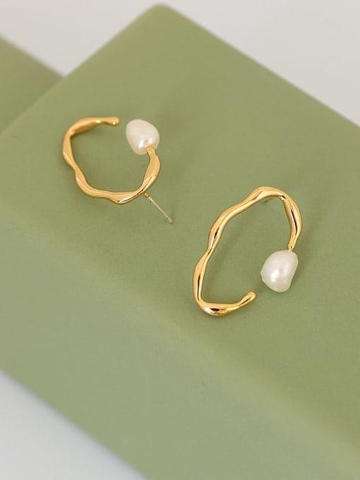 Pearl Earrings Brass Imitation Pearl Geometric Vintage Stud Earring