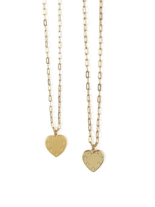 ACCA Brass Rhinestone Heart Minimalist pendant Necklace 2