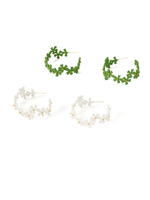 Five Color Alloy Enamel Flower Ethnic Huggie Earring 1