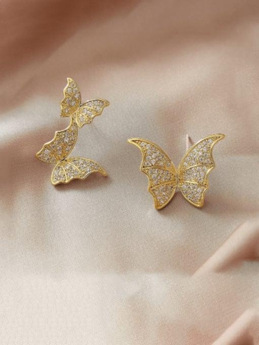 HYACINTH Brass Cubic Zirconia Asymmetry  Butterfly Luxury Stud Earring 0