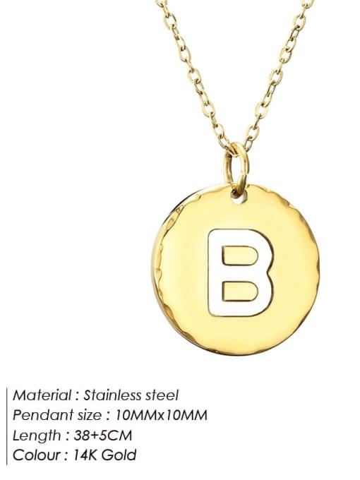B Titanium Steel Letter Minimalist Round Pendant Necklace