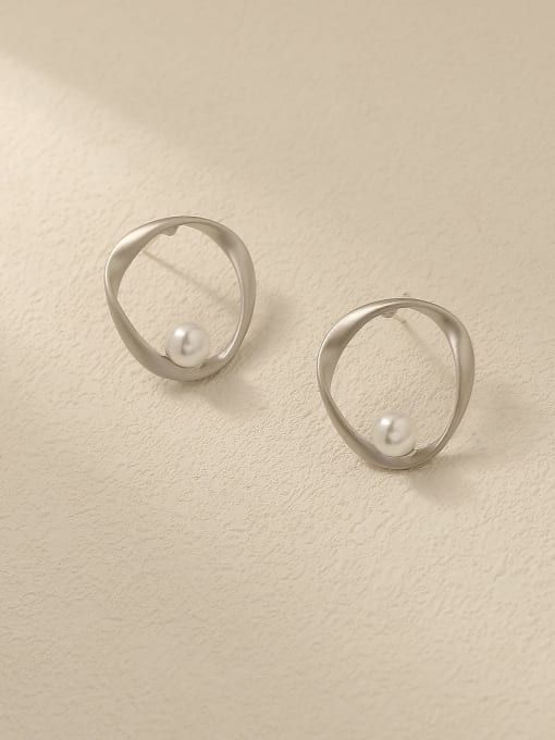 HYACINTH Brass Imitation Pearl Geometric Minimalist Stud Trend Korean Fashion Earring 2