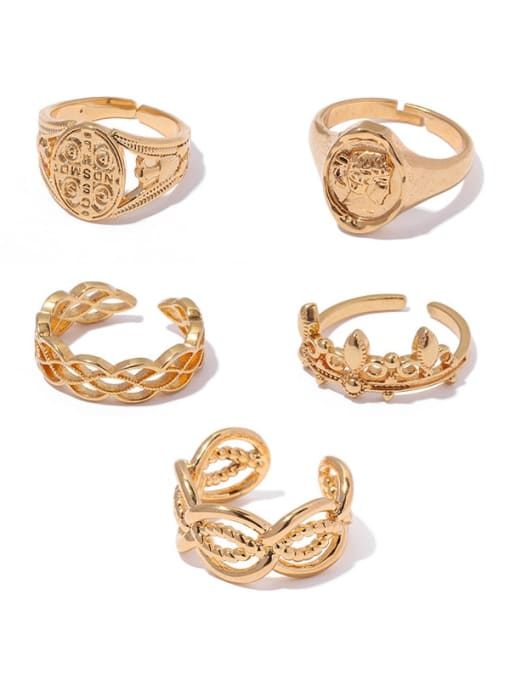 ACCA Brass Hollow Geometric Vintage Band Ring