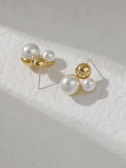 14k Gold Brass Imitation Pearl Irregular Vintage Stud Trend Korean Fashion Earring