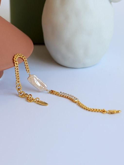 Five Color Brass Cubic Zirconia Geometric Minimalist Link Bracelet 3
