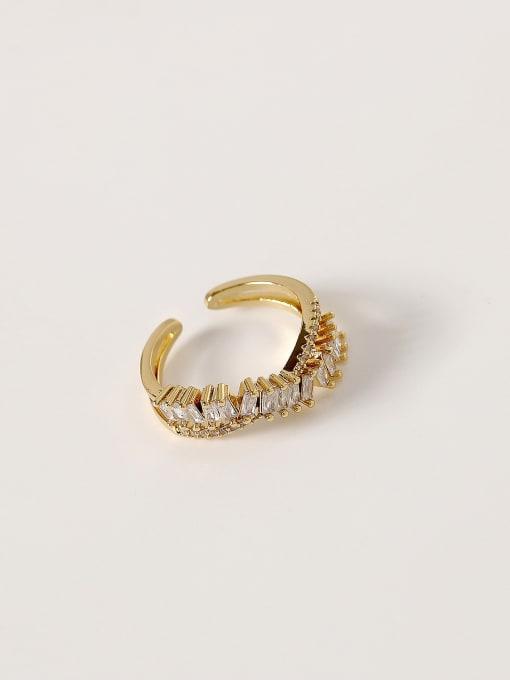 14k Gold Brass Cubic Zirconia Irregular Hip Hop Band Ring
